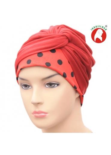 Turban Polkadot Merah