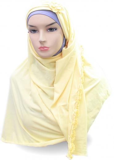 Pashmina Jasmine Rajut Kuning 001