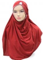 Pashmina Turban Full Swarovski Merah 001