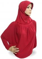 Jilbab Lengan Rempel Merah 001