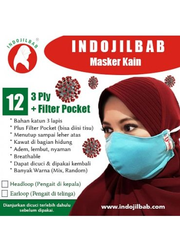 Masker Kain 3 Ply + Filter Pocket + Kawat di Hidung