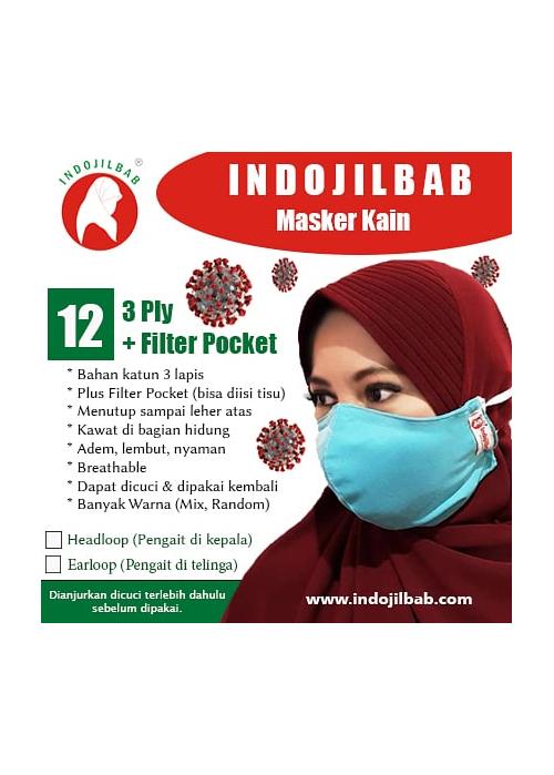 Masker Kain 3 Ply + Filter Pocket