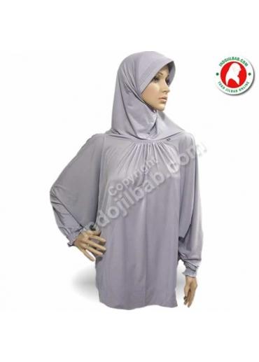 Jilbab Lengan Abu-Abu 002